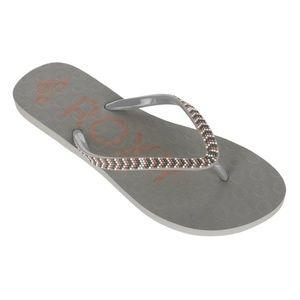 Roxy gray Crush III flip flops NWT